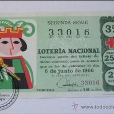 Lotería Nacional: DECIMO DE LOTERIA NACIONAL SORTEO 16 AÑO 1966 - 6 JUNIO 1966 - CONSERVACIÓN REGULAR/ FLOJO. Lote 37707038