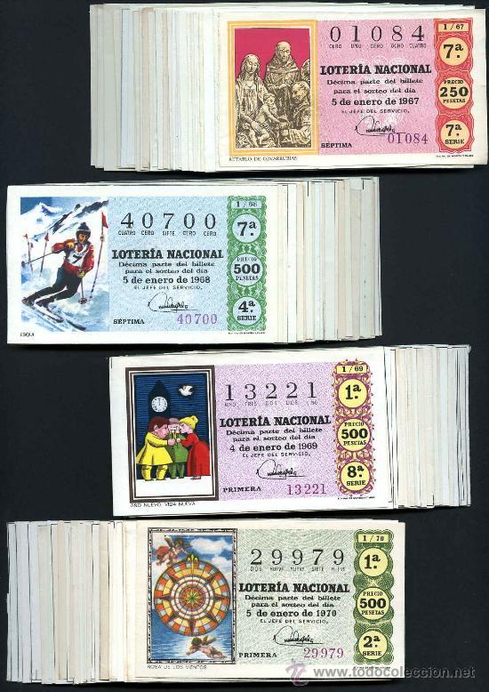 COLECCIONES AÑOS 1967 A 1970 COMPLETAS (Coleccionismo - Lotería Nacional)