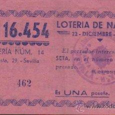 Lotería Nacional: PARTICIPACIÓN DE NAVIDAD DE 1938.PUBLICIDAD ALMACENES PEDRO ROLDÁN -SEVILLA.. Lote 38394965