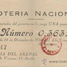 Lotería Nacional: PARTICIPACIÓN DE NAVIDAD DE 1938. LOTERÍA DEL ARENAL - SEVILLA.. Lote 38394983