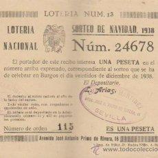 Lotería Nacional: PARTICIPACIÓN DE NAVIDAD DE 1938.CON VIVAS A FRANCO Y A ESPAÑA. SEVILLA.. Lote 38395019