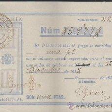 Lotería Nacional: PARTICIPACIÓN DE NAVIDAD DE 1938. COLEGIO SAN ANTONIO - SEVILLA.. Lote 38395032