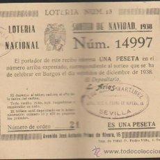 Lotería Nacional: PARTICIPACIÓN DE NAVIDAD DE 1938.CON VIVAS A FRANCO Y A ESPAÑA. SEVILLA.. Lote 38397263