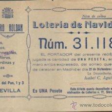 Lotería Nacional: PARTICIPACIÓN DE NAVIDAD DE 1935. PUBLICIDAD DE PEDRO ROLDÁN - SEVILLA.. Lote 38397450