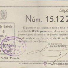 Lotería Nacional: PARTICIPACIÓN DE NAVIDAD DE 1938. LOTERÍA LA FORTUNA - SEVILLA.. Lote 38397554