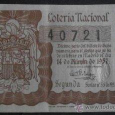 Lotteria Nationale Spagnola: (4745)LOTERIA NACIONAL,SORTEO 35 DE 1957,CONSERVACION:VER FOTO . Lote 38554072