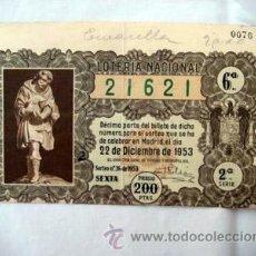 Lotería Nacional: ANTIGUA PAPELETA LOTERÍA NACIONAL SORTEO Nº36 DE 1953. NAVIDAD. Lote 38706545