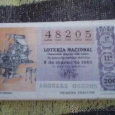Lotería Nacional: LOTERÍA NACIONAL SORTEO 10/80 DEL 8/03/1980. Lote 38737359
