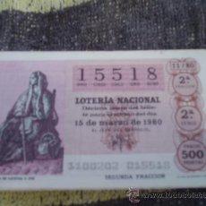Lotería Nacional: LOTERÍA NACIONAL SORTEO 11/80 DEL 15/03/1980 - TEMA: VENDEDORA DE GACETAS S. XVII. Lote 38737370