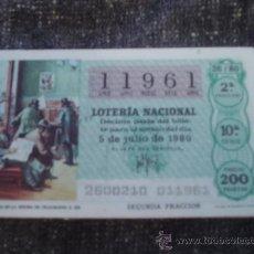 Lotería Nacional: LOTERÍA NACIONAL SORTEO 26/80 DEL 5/07/1980 - TEMA: PERIODISTAS EN LA OFICINA DE CORREOS S. XIX. Lote 38737488