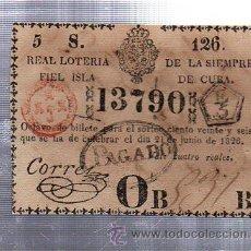 Lotería Nacional: LOTERIA NACIONAL DE CUBA. 21 JUNIO 1826. CUPON PREMIADO Nº 13790. Lote 57993338