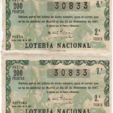 Lotería Nacional: 1947 ADMON VALENCIA Nº 11. 2 DECIMOS CONSECUTIVOS DEL SORTEO LOTERIA NACIONAL NAVIDAD Nº 36. 200 PTS. Lote 39223861