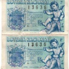 Lotería Nacional: 1948 ADMON VALENCIA Nº 19. 2 DECIMOS CONSECUTIVOS DEL SORTEO LOTERIA NACIONAL DEL NIÑO Nº 1. 200 PTS. Lote 39224004