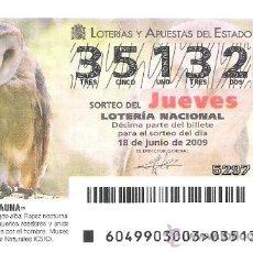Lotería Nacional: 1 DECIMO LOTERIA DEL JUEVES - 18 JUNIO 2009 - 49/09 - FAUNA - AVES - LECHUZA COMUN. Lote 127113908