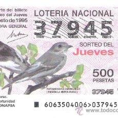 Lotería Nacional: 1 DECIMO LOTERIA DEL JUEVES - 10 AGOSTO 1995 - 63/95 - FAUNA - AVES - PAPAMOSCAS CERROJILLO. Lote 162118442