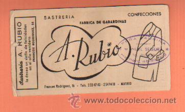 Lotería Nacional: PEQUEÑO CARTEL CON PARTICIPACION DE LOTERÍA NAVIDAD, 1960 SASTRERIA A. RUBIO - Foto 2 - 39291621