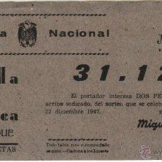 Lotería Nacional: 1947 ALBERIQUE ALBERIC (VALENCIA). BANDA DE MUSICA. PARTICIPACION SORTEO NAVIDAD. Lote 39635027