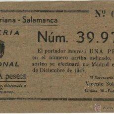 Lotería Nacional: 1947 VALENCIA. COMISION FALLA BURRIANA SALAMANCA. PARTICIPACION SORTEO NAVIDAD. Lote 39635672