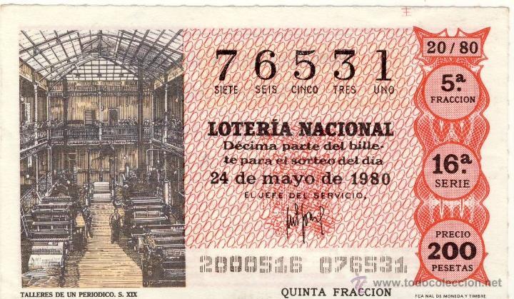 LOTERIA NACIONAL.- SORTEO 20 DE 1980.- (Coleccionismo - Lotería Nacional)