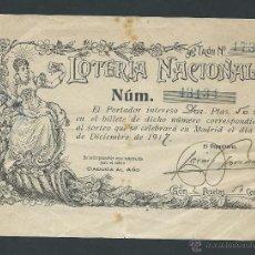 Lotería Nacional: PARTICIPACION LOTERIA NACIONAL NAVIDAD AÑO 1917 . Lote 39926547