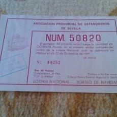 Lotería Nacional: PARTICIPACION DE LOTERIA NACIONAL ASOCIACION PROVINCIAL DE ESTANQUEROS DE SEVILLA APES NAVIDAD 1987. Lote 39973501