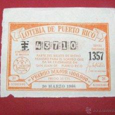 Lotería Nacional: BILLETE ANTIGUO DE LOTERÍA DE PUERTO RICO - 30 MARZO 1966 - 31 -. Lote 40472664