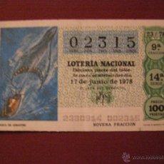 Lotería Nacional: DÉCIMO LOTERIA Nº 23 DEL1978 - 27 DE JUNIO - . Lote 40490525
