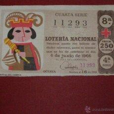 Lotería Nacional: DÉCIMO LOTERIA - SORTEO 16 DE 1966 - 6 DE JUNIO - 4ª SERIE - 250 PTS. . Lote 40490631