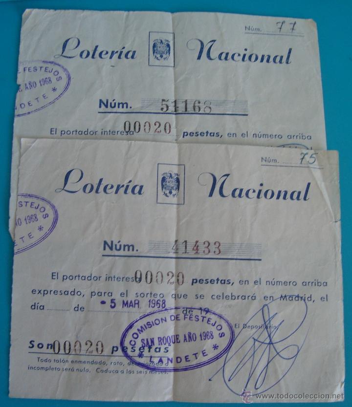 PARTICIPACION DE LOTERIA MADRID SAN ROQUE 1968, COMISION DE FESTEJOS LANDETE (Coleccionismo - Lotería Nacional)