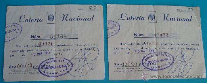 Lotería Nacional: PARTICIPACION DE LOTERIA MADRID SAN ROQUE 1968, COMISION DE FESTEJOS LANDETE - Foto 2 - 40529278