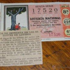 Lotería Nacional: ERROR EN DÉCIMO LOTERIA Nº 25 DE 1969 DE 5 DE SEPTIEMBRE - CON NOTA DE PRENSA -. Lote 40784057