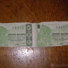Lotería Nacional: PAREJA DÉCIMO LOTERIA - CAMINO SANTIAGO - C. JACA - SORTEO Nº 12 DE 1965 - 26 DE ABRIL - 2ª SERIE - . Lote 40796430