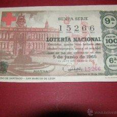 Lotería Nacional: DÉCIMO LOTERIA - CAMINO DE SANTIAGO - SORTEO Nº 16 DE 1965 - 5 JUNIO - 6ª SERIE - 100 PTS. . Lote 40933238