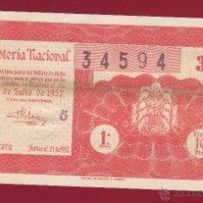 Lotería Nacional: LOTERIA 1957 SORTEO NÚMERO 21. Lote 40955031