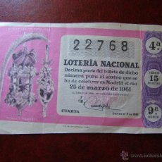 Lotería Nacional: DÉCIMO LOTERIA -ARTES - PALMAS Y PALMONES - SORTEO Nº 9 DE 1961 - 25 DE MARZO - 9ª SERIE - 15 PTS.. Lote 41411091