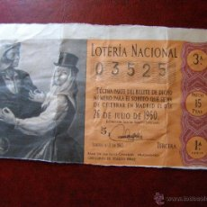 Lotería Nacional: DÉCIMO LOTERIA - BAILE CANARIAS - G. TOLEDO - SORTEO Nº 21 DE 1960 - 26 DE JULIO - 1ª SERIE - 15 PTS. Lote 41411130