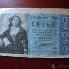 Lotería Nacional: DÉCIMO LOTERIA - MARQUESA MONTELO F. MADRAZO- SORTEO Nº 11 DE 1960 - 14 DE ABRIL -2ª SERIE- 25 PTS.. Lote 41411176