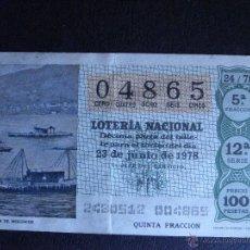 Lotería Nacional: DÉCIMO LOTERIA- SORTEO Nº 24 DE 1978 - 23 DE JUNIO DE 1978 - 12ª SERIE - 1978 -. Lote 41580313