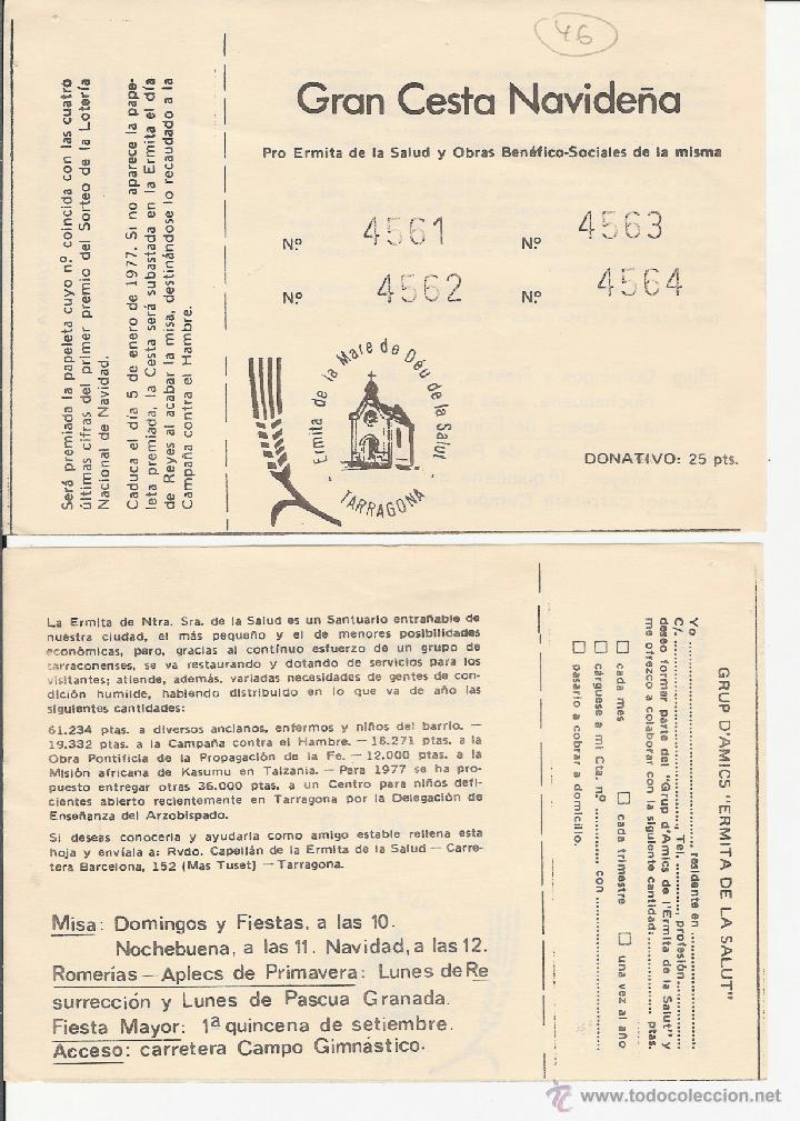 TARRAGONA - ERMITA DE LA MARE DE DEU DE LA SALUT - GRAN CESTA NAVIDEÑA - ANY 1976 (Coleccionismo - Lotería Nacional)