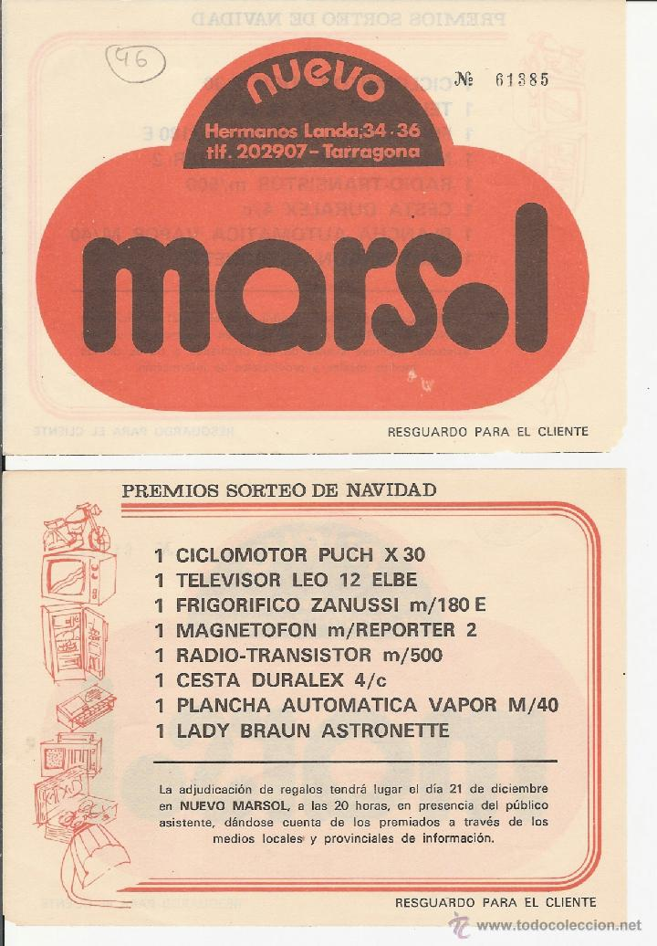 TARRAGONA - PREMIOS SORTEO DE NAVIDAD - NUEVO MARSOL - TARRAGONA (Coleccionismo - Lotería Nacional)
