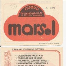 Lotería Nacional: TARRAGONA - PREMIOS SORTEO DE NAVIDAD - NUEVO MARSOL - TARRAGONA. Lote 41610445