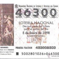 Lotería Nacional: 1 DECIMO LOTERIA DEL SABADO - 5 ENERO 1998 - 2/98 NIÑO ADORACION REYES MAGOS - CATEDRAL CIUDAD REAL. Lote 145180602