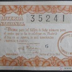 Lotería Nacional: (5067) DECIMO DE LOTERIA, SORTEO 11 DE 1944,CONSERVACION:. Lote 41767540