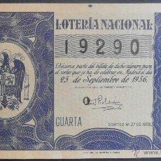 Lotteria Nationale Spagnola: (5101) DECIMO DE LOTERIA, SORTEO 27 DE 1956,CONSERVACION:. Lote 41928903