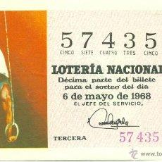 Lotería Nacional: DÉCIMO DE LOTERÍA NACIONAL - SORTEO 13/68 - 6/05/1968 - DEPORTES: GIMNASIA. Lote 42065930