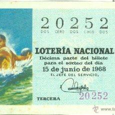 Lotería Nacional: DÉCIMO DE LOTERÍA NACIONAL - SORTEO 17/68 - 15/06/1968 - DEPORTES: WATER-POLO. Lote 42065997