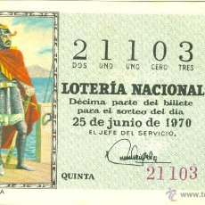 Lotería Nacional: DÉCIMO DE LOTERÍA NACIONAL - SORTEO 18/70 - 25/06/1970 - ROGER DE LAURIA. Lote 42199457