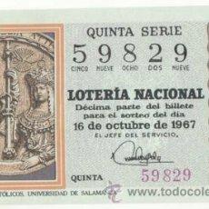 Lotería Nacional: LOTERÍA NACIONAL 1967 ( SORTEO 29 ). Lote 42208975
