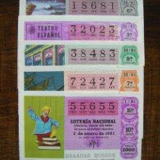 Lotería Nacional: LOTE 5 DECIMOS CAPICUA 1981. VER FOTOS. Lote 42459921