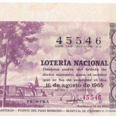 Lotería Nacional: HOJA DE 10 DÉCIMOS LOTERIA NACIONAL Nº 45546 - 16 AGOSTO 1965 - - VALDÉS. Lote 43070217